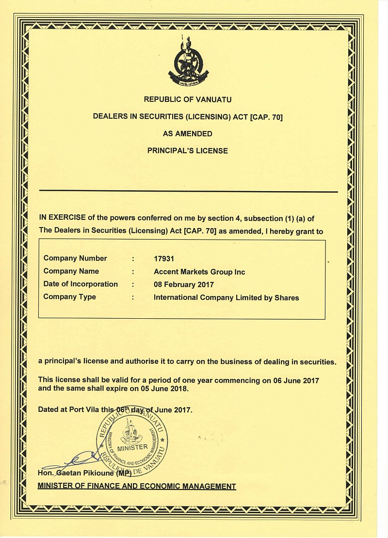 Accent Markets Group Inc - Securities License-1