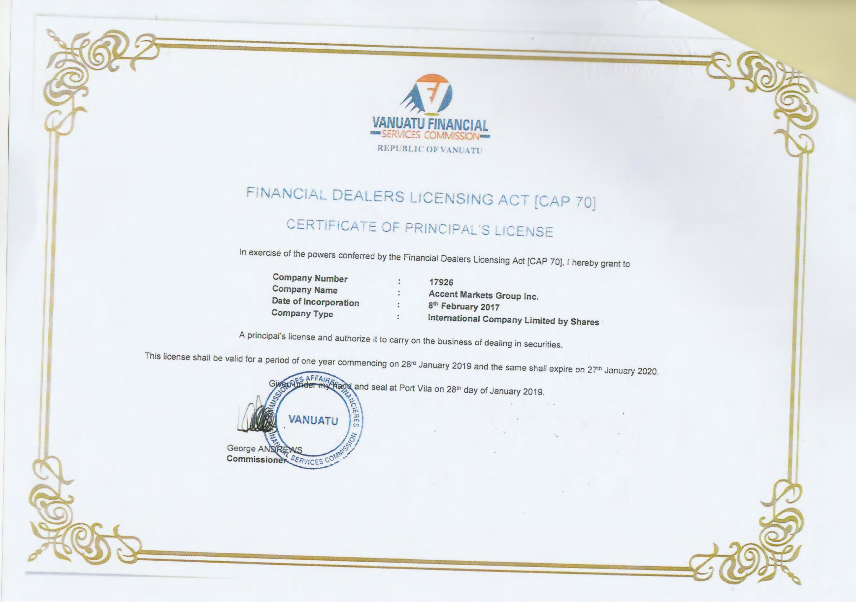 Accent Markets Group Inc - Securities License (revised)-1